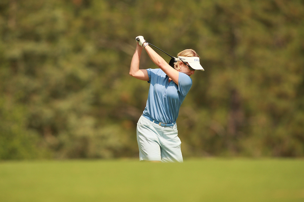 SOUTHERN PINES, NC - JUNE 30:  Karrie Webb at the top of her backawing as she prepares to hit a tee shot during the second round of the 2007 U.S. Women's Open Championship in Southern Pines, North Carolina at Pine Needles Lodge and Golf Club on Saturday, June 30, 2007. (Photo by Darren Carroll/Getty Images) *** LOCAL CAPTION *** Karrie Webb