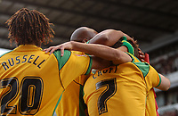 Photo: Paul Greenwood/Sportsbeat Images.<br />Stoke City v Norwich City. Coca Cola Championship. 01/12/2007.<br />Norwich City players mob goalscorer Darren Huckerby