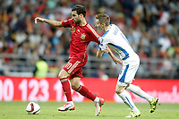 Spain's Cesc Fabregas (l) and Slovakia's Jan Gregus during 15th UEFA European Championship Qualifying Round match. September 5,2015.(ALTERPHOTOS/Acero)