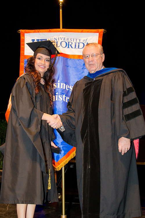 The University of Florida's College of Business Administration MBA Executive and Professional program graduation at the Phillip Center for Performing Arts in Gainesville, Florida.