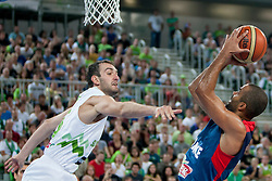 Mirza Begic of Slovenia and Tony Parker of France during last friendly match before Eurobasket 2013 between National teams of Slovenia and France on August 31, 2013 in SRC Stozice, Ljubljana, Slovenia. (Photo by Urban Urbanc / Sportida.com)