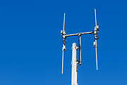 Omni directional rural cell base station antennas on a monopole tower for the mobile telephone system at Cann River, Victoria. <br />