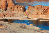 Housboat on Lake Powell from Alstrom Point, Glen Canyon National Recreation Area Utah