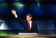 U.S Vice President Al Gore waves to supporters as he accepts the nomination for the democrat party as running mate for President Bill Clinton at the 1996 Democratic National Convention August 29, 1996 in Chicago, IL.