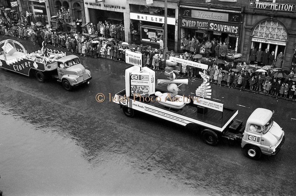 17/03/1963<br /> 03/17/1963<br /> 17 March 1963<br /> An Erin Foods float and a Clover Meats float on a Leyland Comet truck in the N.A.I.D.A. St. Patricks Day Parade, pass down  Westmoreland Street. Dublin.