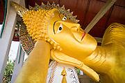 19 FEBRUARY 2008 -- SANGKLABURI, KANCHANABURI, THAILAND: A reclining Buddha in a Wat (Temple) in Sangklaburi, Thailand.  Photo by Jack Kurtz