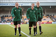 Morag Pirie (Referee) (Scotland), Kylie McMullan (Assistant Referee) (Scotland) and Molly Alexander (Assistant Referee) (Scotland) before the Women's International Friendly match between England Ladies and Italy Women at Vale Park, Burslem, England on 7 April 2017. Photo by Mark P Doherty.