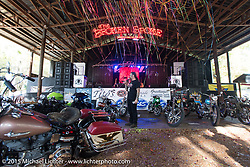 """Chris Callen of Cycle Source Magazine MC's for the """"Editor's Choice"""" bike show at the Broken Spoke Saloon during Daytona Beach Bike Week 2015. FL, USA. Tuesday March 10, 2015.  Photography ©2015 Michael Lichter."""
