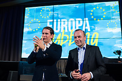 "12.04.2019, Palais Wertheim, Wien, AUT, ÖVP, ""Europa-Get-Together"" der Jungen Österreichischen Volkspartei. im Bild Bundeskanzler Sebastian Kurz (ÖVP) und EVP-Spitzenkandidat zur Europawahl Manfred Weber // Austrian Federal Chancellor Sebastian Kurz and MEP Manfred Weber (European Peoples Party) during get together of the Youth of the European People's Party regarding to Eurpean Parliment Elections of the Austrian People' s Party in Vienna, Austria on 2019/04/12. EXPA Pictures © 2019, PhotoCredit: EXPA/ Michael Gruber"