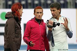 Nina Kolaric, Sonja Roman and Coach Albert Soba at warming up day before European Athletics Indoor Championships Torino 2009 (6th - 8th March), at Oval Lingotto Stadium,  Torino, Italy, on March 5, 2009. (Photo by Vid Ponikvar / Sportida)