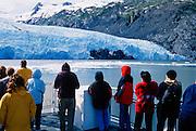 Alaska. Portage Glacier Cruises. Visitors enjoy magnificent up close view of the glacier.