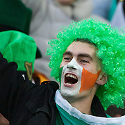 An Irish fan in the crowd during the Ireland V Wales Quarter Final match at the IRB Rugby World Cup tournament. Wellington Regional Stadium, Wellington, New Zealand, 8th October 2011. Photo Tim Clayton...