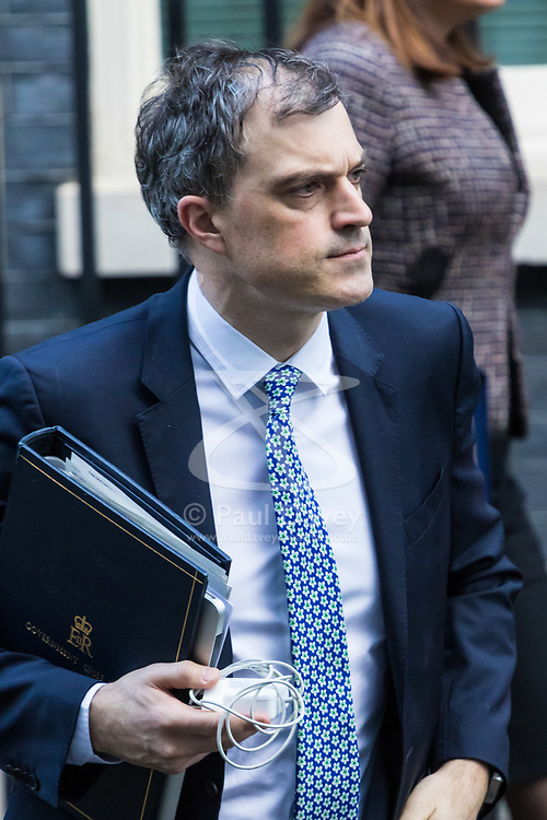 London, January 16 2018. Conservative Chief Whip Julian Smith leaves the UK cabinet meeting at Downing Street. © Paul Davey