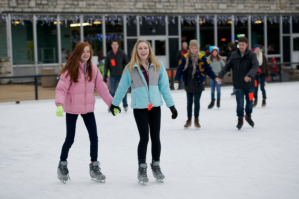 Ice skating at Steinberg Skating Rink in Forest Park in St. Louis, Missouri.