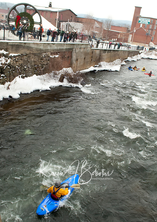 New Years Day Kayak run at Trestle Park in Franklin, NH.  Karen Bobotas Photographer