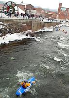 New Years Day Kayak run at Trestle Park in Franklin, NH.  Karen Bobotas Photographer