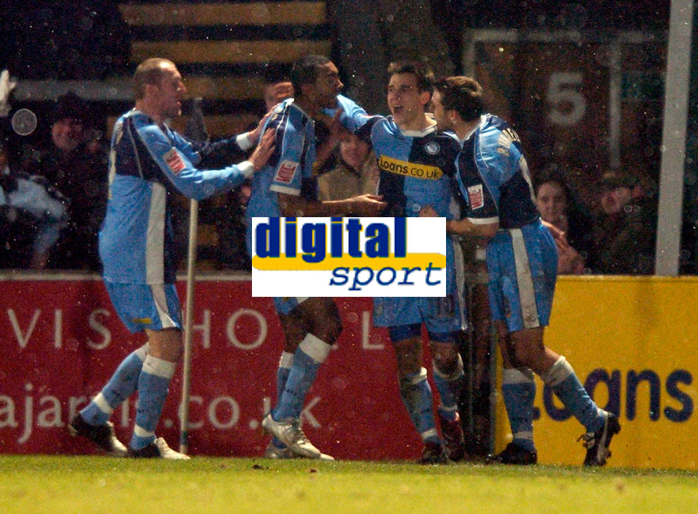 Photo. Richard Lane.<br />Wycombe Wanderers v Leyton Orient. Coca Cola League Two. 29/12/2005.<br />Wycombe's Matt Bloomfield celebrates his goal