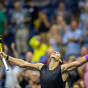 2019 US Open Tennis Tournament- Day Ten.  Rafael Nadal of Spain celebrates his victory against Diego Schwartzman of Argentina in the Men's Singles Quarter-Finals match on Arthur Ashe Stadium during the 2019 US Open Tennis Tournament at the USTA Billie Jean King National Tennis Center on September 4th, 2019 in Flushing, Queens, New York City.  (Photo by Tim Clayton/Corbis via Getty Images)