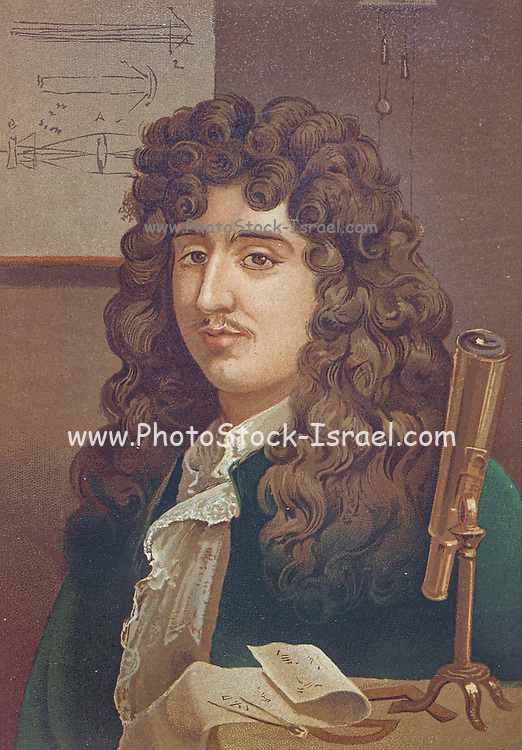 Christiaan Huygens [Cristian Huygens] also Hugenius or Huyghens; (14 April 1629 – 8 July 1695), was a Dutch physicist, mathematician, astronomer and inventor, who is widely regarded as one of the greatest scientists of all time and a major figure in the scientific revolution. In physics, Huygens made groundbreaking contributions in optics and mechanics, while as an astronomer he is chiefly known for his studies of the rings of Saturn and the discovery of its moon Titan. As an inventor, he improved the design of the telescope with the invention of the Huygenian eyepiece. His most famous invention, however, was the pendulum clock in 1656, which was a breakthrough in timekeeping and became the most accurate timekeeper for almost 300 years. Because he was the first to use mathematical formulae to describe the laws of physics, Huygens has been called the first theoretical physicist and the founder of mathematical physics.[7][8]From the book La ciencia y sus hombres : vidas de los sabios ilustres desde la antigüedad hasta el siglo XIX T. 2  [Science and its men: lives of the illustrious sages from antiquity to the 19th century Vol 2] By by Figuier, Louis, (1819-1894); Casabó y Pagés, Pelegrín, n. 1831 Published in Barcelona by D. Jaime Seix, editor , 1879 (Imprenta de Baseda y Giró)