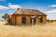 dilapidated old sandstone farm house in a field of long dry grass near Palmer, South Australia, Australia <br /> <br /> Editions:- Open Edition Print / Stock Image
