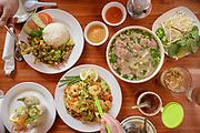 Moe Pho #1 Beef Special, #9 Street Noodles, #6 Cambodian Lemongrass, Thai Coffee, Shrimp Spring Rolls