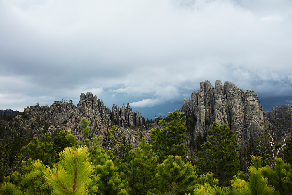 Summer Storm over Cathedral Spires from the Little Devil Tower trail in Custer State Park South Dakota