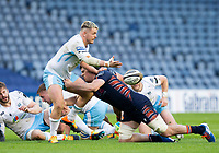 Rugby Union - 2021 Guinness Pro14 Rainbow Cup - Northern Group - Edinburgh vs Glasgow Warriors - Murrayfield<br /> <br /> Tom Lambert of Glasgow Warriors is tackled by Marshall Sykes of Edinburgh Rugby<br /> <br /> Credit : COLORSPORT/BRUCE WHITE