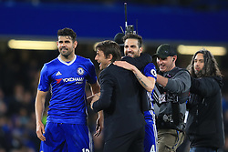 8 May 2017 - Premier League - Chelsea v Middlesbrough - Antonio Conte manager of Chelsea celebrates with Diego Costa and Cesc Fabregas - Photo: Marc Atkins / Offside.