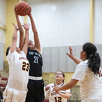 Tse' Yi' Gai's Lakoda Jim (21) and Rehoboth's Adrianna Pete (23) reach for a rebound in their matchup Tuesday night.