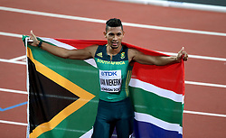 South Africa's Wayde van Niekerk celebrates winning the Men's 400m Final during day five of the 2017 IAAF World Championships at the London Stadium.