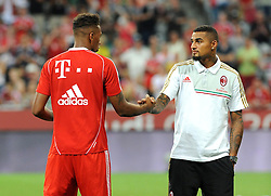 01.08.2013, Allianz Arena, Muenchen, Audi Cup 2013, FC Bayern Muenchen vs Manchester City, im Bild, Die beiden Brueder Jerome BOATENG (FC Bayern Muenchen),links und Kevin Prince BOATENG (AC Mailand) verabschieden sich nach dem Finalspiel // during the Audi Cup 2013 match between FC Bayern Muenchen and Manchester City at the Allianz Arena, Munich, Germany on 2013/08/01. EXPA Pictures © 2013, PhotoCredit: EXPA/ Eibner/ Wolfgang Stuetzle<br /> <br /> ***** ATTENTION - OUT OF GER *****
