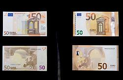 Old and New banknotes for 50 EUR, on April 3, 2017 in Banka Slovenije, Ljubljana, Slovenia. Photo by Vid Ponikvar / Sportida