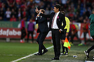 Chris Coleman, the Wales manager looks on from the touchline. Wales v Georgia , FIFA World Cup qualifier, European group D match at the Cardiff city Stadium in Cardiff on Sunday 9th October 2016. pic by Andrew Orchard, Andrew Orchard sports photography