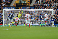 Everton Goalkeeper Maarten Stekelenburg makes a clean catch to deny Stoke. Premier league match, Everton v Stoke city at Goodison Park in Liverpool, Merseyside on Saturday 27th August 2016.<br /> pic by Chris Stading, Andrew Orchard sports photography.