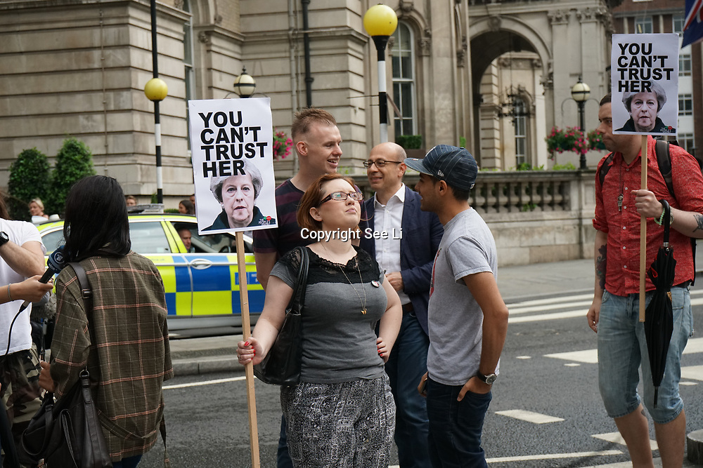 "London,England,London,UK. 2nd June 2017. Anti-Theresa May demo outside the BBC ""I am a threat"" no1 song -Liar Liar."
