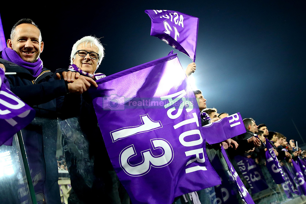 February 27, 2019 - Florence, Italy - Fiorentina v Atalanta : Italian Cup semifinal .Fiorentina supporters with a flag in honor of their captain Davide Astori some days before the first anniversary of his tragic death. Artemio Franchi Stadium in Florence, Italy on February 27, 2019. (Credit Image: © Matteo Ciambelli/NurPhoto via ZUMA Press)