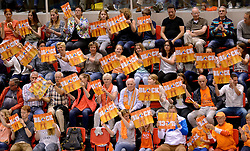 31-05-2015 NED: CEV EK Kwalificatie Nederland - Spanje, Doetinchem<br /> Nederland wint met 3-1 van Spanje en plaatst zich voor het EK in Bulgarije en Italie / Topsporthal Doetinchem volledig uitverkocht