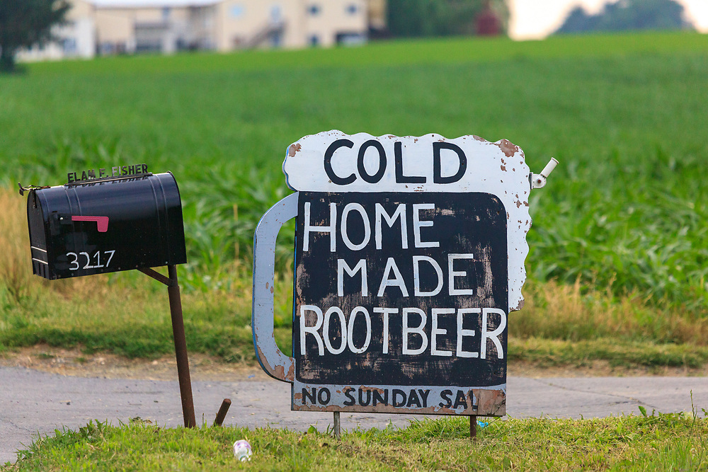 Root beer for sale on an Amish farm in Lancaster County