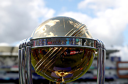 A general view of the trophy on display prior to the ICC Cricket World Cup group stage match at Headingley, Leeds.