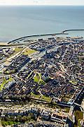 Nederland, Friesland, Harlingen, 28-02-2016; overzicht Harlingen met Noorderhaven en Zuiderhaven. Noordooster- en Zuidoostersingel<br /> Overview Harlingen harbor.<br /> luchtfoto (toeslag op standard tarieven);<br /> aerial photo (additional fee required);<br /> copyright foto/photo Siebe Swart