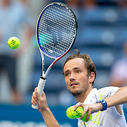 2019 US Open Tennis Tournament- Day Nine.  Danill Medvedev of Russia hits balls into the crowd after his victory against Stan Wawrinka of Switzerland in the Men's Singles Quarter-Finals match on Arthur Ashe Stadium during the 2019 US Open Tennis Tournament at the USTA Billie Jean King National Tennis Center on September 3rd, 2019 in Flushing, Queens, New York City.  (Photo by Tim Clayton/Corbis via Getty Images)