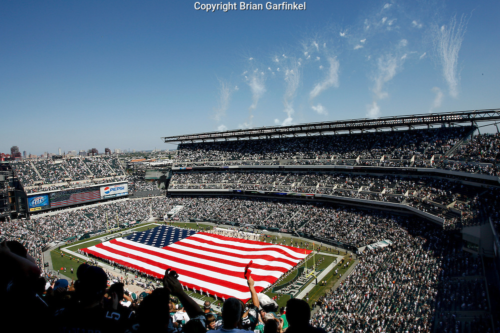 6 Sept 2008: A large American flag is presented over the field before the game against the St Louis Rams on August 28, 2008. The Eagles beat the Rams 38-3 at Lincoln Financial Field in Phialdelphia, Pennsylvania.