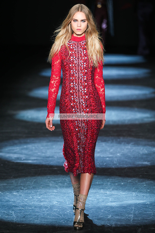 Line Brems walks the runway wearing Monique Lhuillier Fall 2016 during New York Fashion Week on February 13, 2016