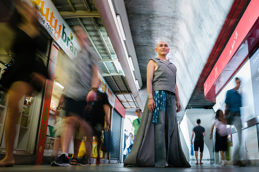 "Bangkok January 2018,<br /> Chana Lanna, a famous transgender in Bangkok At the Sky Trein, ""She"" love to be like this in public.Bangkok Janvier 2018,<br /> Chana Lanna, une transsexuelle célèbre à Bangkok Au Sky Trein, ""She"" adore être comme ça en public."