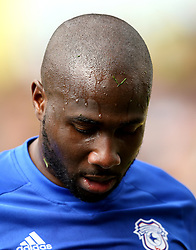 """Cardiff City's Sol Bamba during the Sky Bet Championship match at Carrow Road, Norwich. PRESS ASSOCIATION Photo. Picture date: Saturday April 14, 2018. See PA story SOCCER Norwich. Photo credit should read: Paul Harding/PA Wire. RESTRICTIONS: EDITORIAL USE ONLY No use with unauthorised audio, video, data, fixture lists, club/league logos or """"live"""" services. Online in-match use limited to 75 images, no video emulation. No use in betting, games or single club/league/player publications."""