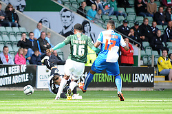 Bristol Rovers' Ryan Brunt's shot goes wide  - Photo mandatory by-line: Dougie Allward/JMP - Tel: Mobile: 07966 386802 07/09/2013 - SPORT - FOOTBALL -  Home Park - Plymouth - Plymouth Argyle V Bristol Rovers - Sky Bet League Two