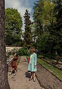 Milan, woman in the Garden of Brera Academy