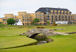 Old Course Hotel, Golf Resort and Spa with Swilken Bridge in foreground, Old Course St Andrews, Scotland, UK
