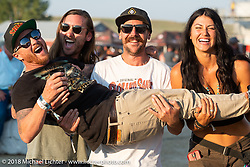 Roland Sands, Mark Buche, Kelly Yazde and Cameron Brewer after the Hooligan flat track races at the Buffalo Chip during the 78th annual Sturgis Motorcycle Rally. Sturgis, SD. USA. Wednesday August 8, 2018. Photography ©2018 Michael Lichter.