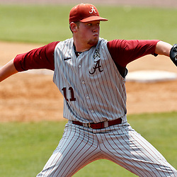 June 06, 2011; Tallahassee, FL, USA; Alabama Crimson Tide pitcher Trey Pilkington (11) throws against the Florida State Seminoles during the eighth inning of the Tallahassee regional of the 2011 NCAA baseball tournament as play resumed following the suspension of play due to severe weather last night at Dick Howser Stadium. Florida State defeated Alabama 11-1 to advance to a super regional.  Mandatory Credit: Derick E. Hingle